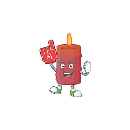 Foam finger red candle on mascot cartoon style. Vector illustration