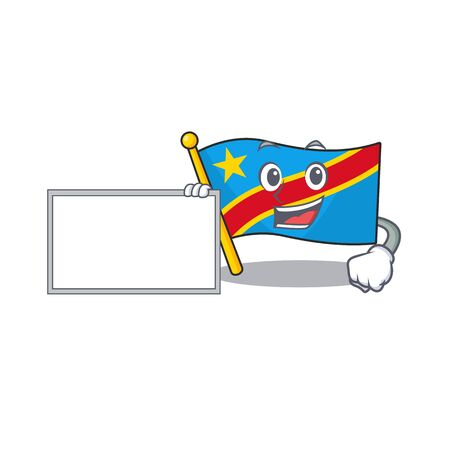 Flag democratic republic with board cartoon Character design style. Vector illustration