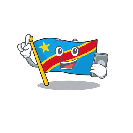 mascot cartoon style of flag democratic republic speaking with phone. Vector illustration Standard-Bild - 134718114