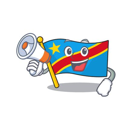 Funny cartoon style of flag democratic republic with megaphone. Vector illustration