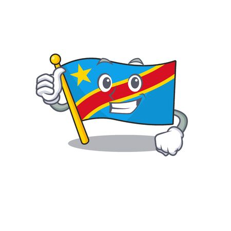 Cartoon of flag democratic republic making Thumbs up gesture. Vector illustration Standard-Bild - 134718092