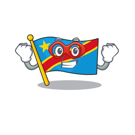 A cartoon of flag democratic republic wearing costume of Super hero Standard-Bild - 134745963