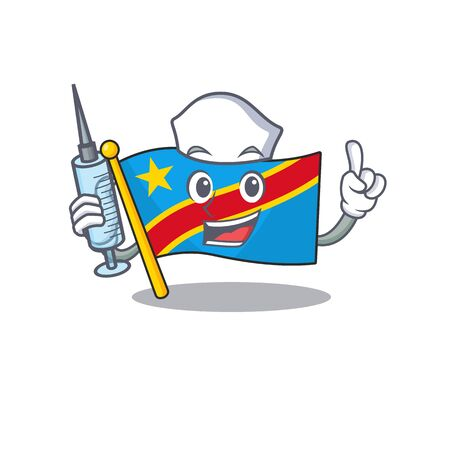Cute Nurse flag democratic republic character cartoon style with syringe. Vector illustration