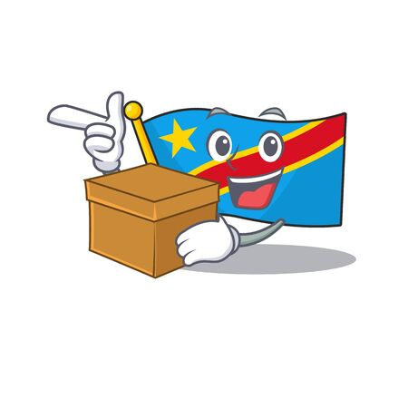 With box Super Funny flag democratic republic cartoon character style Standard-Bild - 134745970