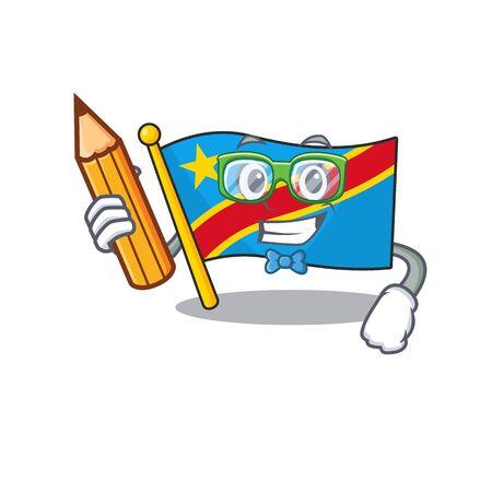 Cool smart Student flag democratic republic character holding pencil Standard-Bild - 134745971