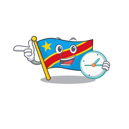 With clock smiling flag democratic republic cartoon character style Standard-Bild - 134745972