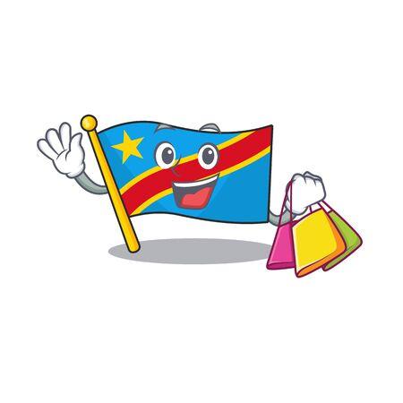 Cheerful flag democratic republic cartoon character waving and holding Shopping bag Standard-Bild - 134745973