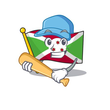 Funny smiling flag burundi cartoon mascot playing baseball