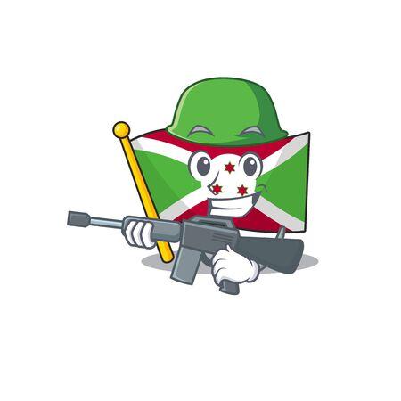 A cartoon style of flag burundi Army with machine gun