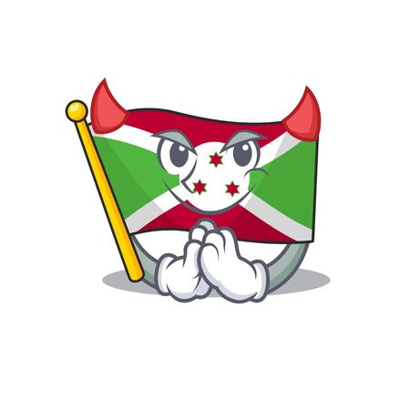 Cartoon character of flag burundi on a Devil gesture design