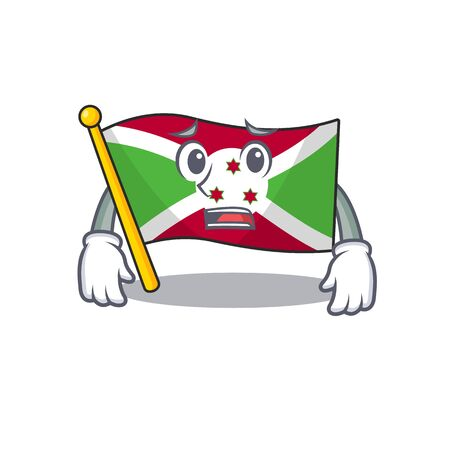 Flag burundi Cartoon character showing afraid look face Ilustração