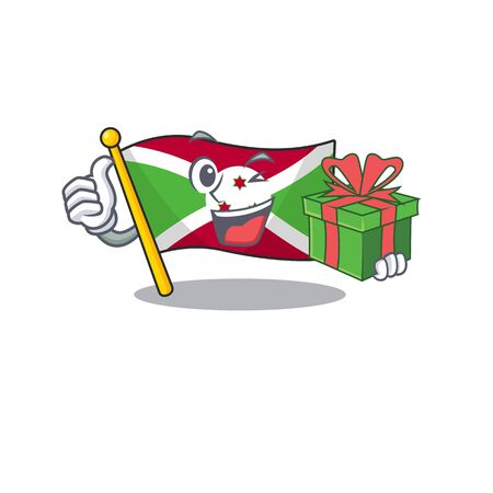 mascot cartoon of happy flag burundi with gift box. Vector illustration