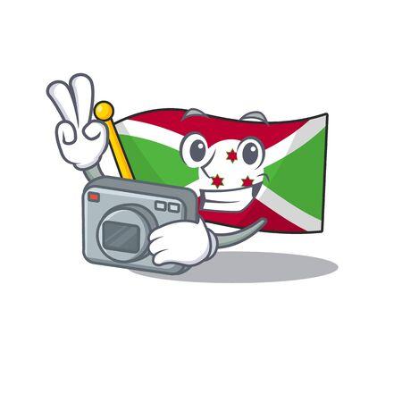 a professional Photographer flag burundi cartoon character with a camera