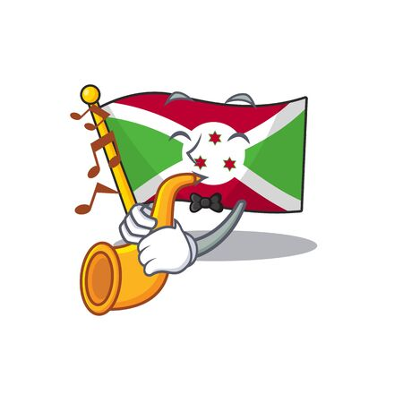 Supper cool flag burundi cartoon character performance with trumpet