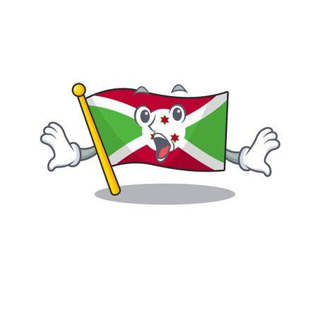 Surprised flag burundi face gesture on cartoon style