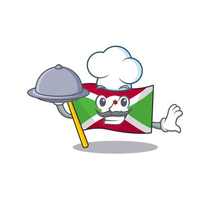 smiling flag burundi as a Chef with food cartoon style design. Vector illustration