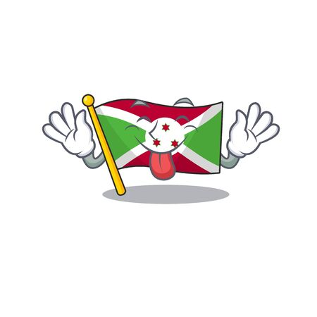 Super cute flag burundi cartoon design with Tongue out