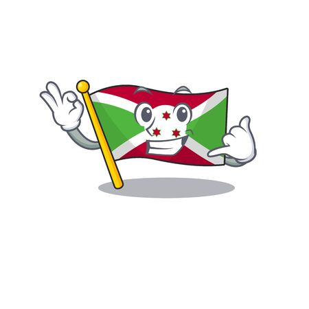 Call me cute flag burundi mascot cartoon style