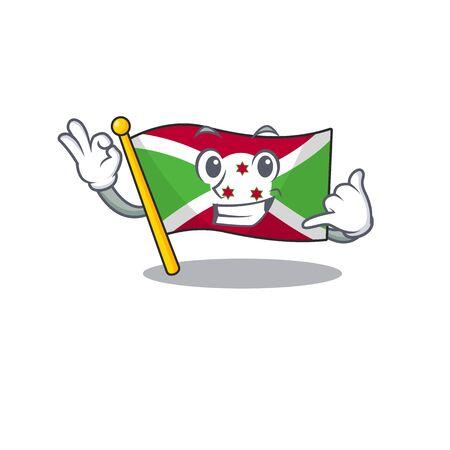 Call me cute flag burundi mascot cartoon style