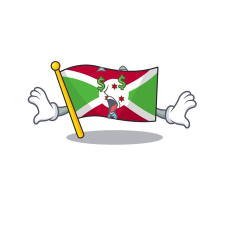 Flag burundi with Money eye cartoon character style. Vector illustration