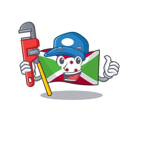 Plumber flag burundi on cartoon character mascot design. Vector illustration Иллюстрация