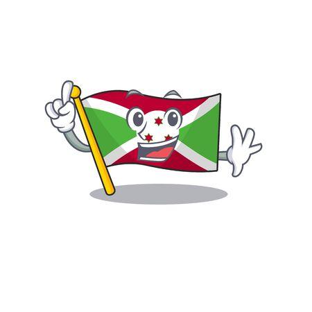 Finger flag burundi in mascot cartoon character style