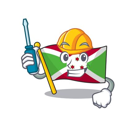 Cool automotive flag burundi presented in cartoon character style. Vector illustration