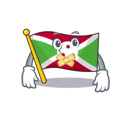 Flag burundi mascot cartoon character style making silent gesture