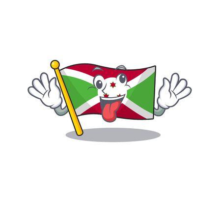 Mascot illustration of crazy expression flag burundi Cartoon character design. Vector illustration