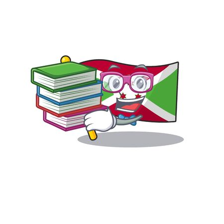 Student with book flag burundi mascot cartoon character style. Vector illustration