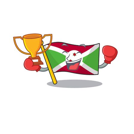 Super cool Boxing winner flag burundi in mascot cartoon style Archivio Fotografico - 134746150