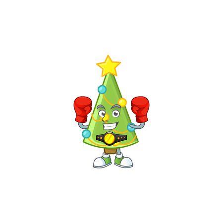 Funny Boxing christmas tree decoration cartoon character style. Vector illustration Archivio Fotografico - 134721274