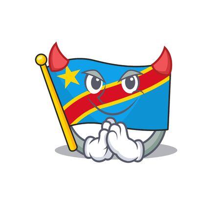 Cartoon character of flag democratic republic on a Devil gesture design Standard-Bild - 134746157