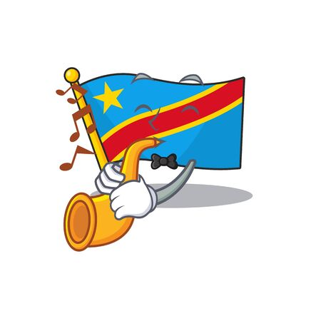 Supper cool flag democratic republic cartoon character performance with trumpet