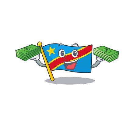 Confident smiley flag democratic republic character with money bag. Vector illustration Standard-Bild - 134720931