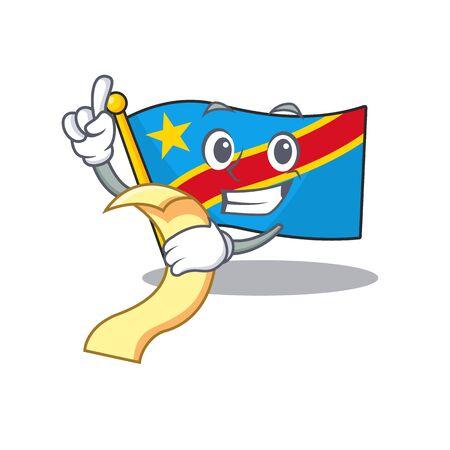 Cute flag democratic republic cartoon character with menu ready to serve Standard-Bild - 134746164