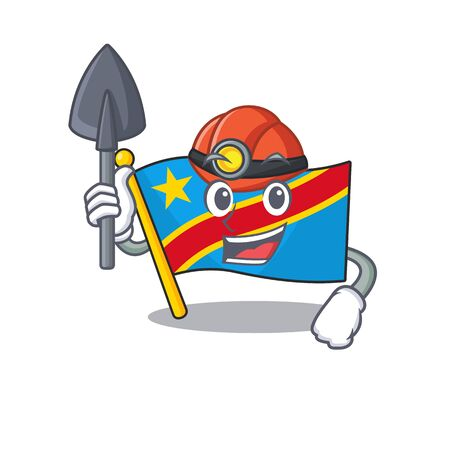 Cool Miner flag democratic republic of cartoon mascot style