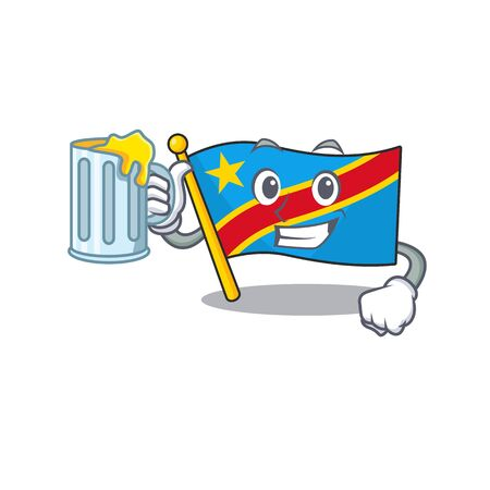 Happy flag democratic republic holding a glass with juice. Vector illustration Standard-Bild - 134720935
