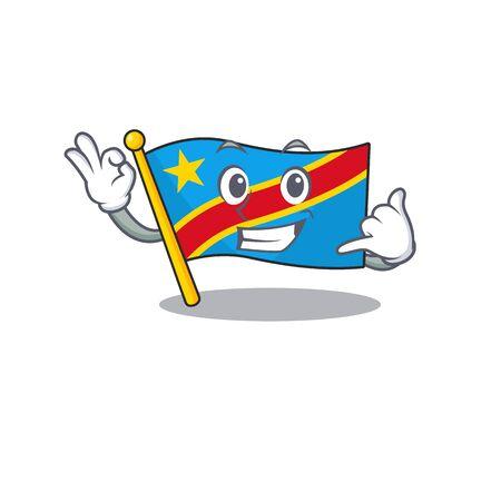 Call me cute flag democratic republic mascot cartoon style Ilustrace