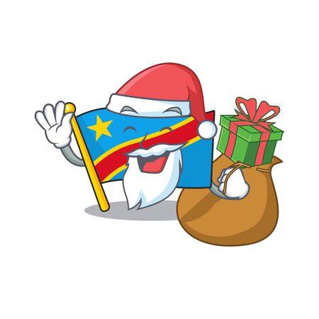 Santa with gift flag democratic republic Cartoon character design. Vector illustration Standard-Bild - 134721047