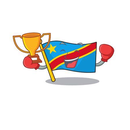 Super cool Boxing winner flag democratic republic in mascot cartoon style Standard-Bild - 134746288