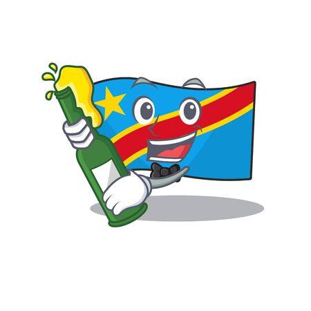 Cool flag democratic republic with beer mascot cartoon style. Vector illustration Standard-Bild - 134721276