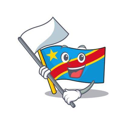 cute flag standing with flag democratic republic cartoon character style. Vector illustration Standard-Bild - 134721860