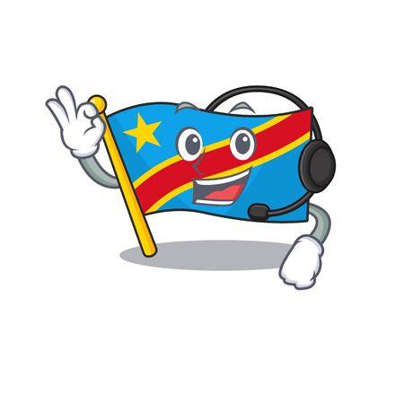 Flag democratic republic cute cartoon character design with headphone Standard-Bild - 134746290