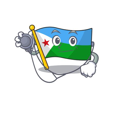 Flag djibouti cartoon mascot style in a Doctor costume with tools. Vector illustration