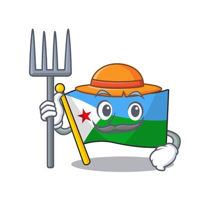 Farmer flag djibouti cartoon character with hat and tools. Vector illustration Stock Illustratie