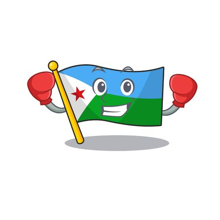 Funny Boxing flag djibouti cartoon character style. Vector illustration Archivio Fotografico - 134721563