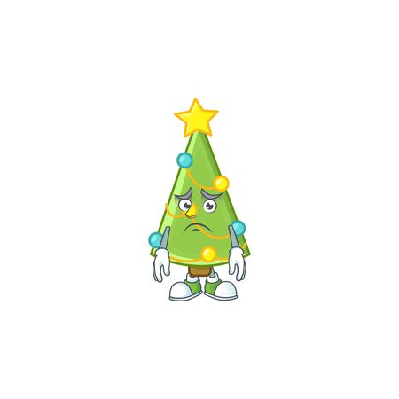 Christmas tree decoration Cartoon character showing afraid look face. Vector illustration