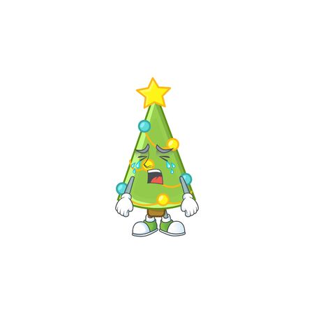 Sad Crying christmas tree decoration cartoon character design style. Vector illustration