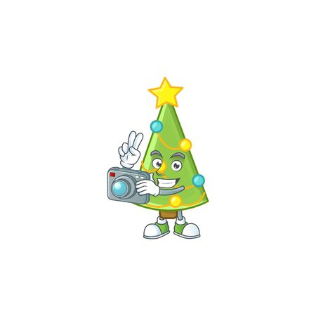 a professional Photographer christmas tree decoration cartoon character with a camera. Vector illustration Imagens - 134721771
